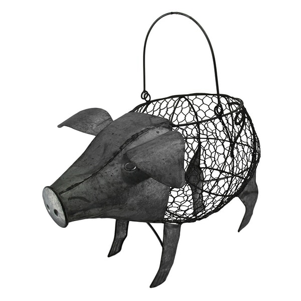 Pig Shaped Galvanized Finish Metal Chicken Wire Basket With Handle