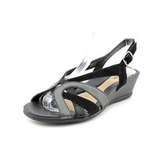 Earth Camarra Women Open Toe Leather Black Wedge Sandal