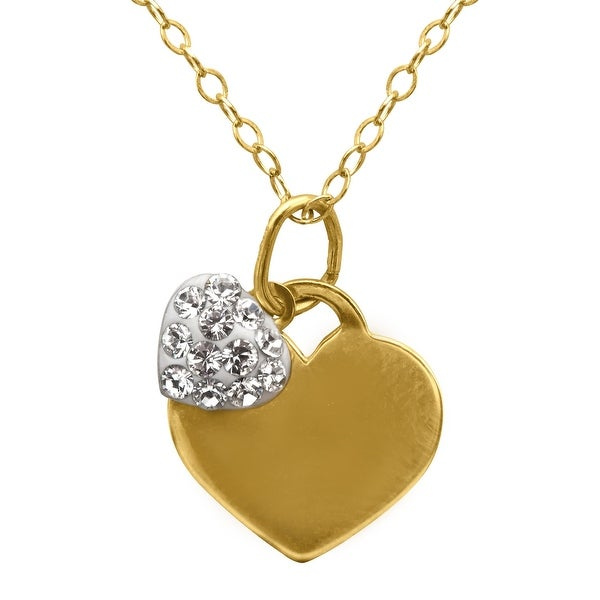 Crystaluxe Girl's Double Heart Pendant with Swarovski Crystals in 14K Gold-Plated Sterling Silver