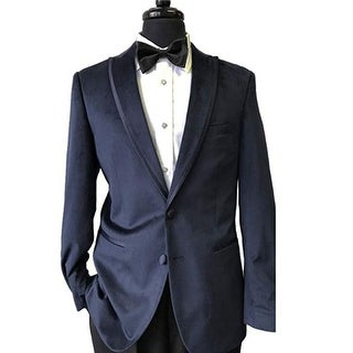 1901 Navy Blue Velvet Peak Lapel Tuxedo Jacket