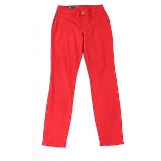 INC Red Women's Size 4 Curvy Fit Skinny Faux Pocket Ponte Pants