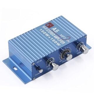Unique Bargains 150W + 150W Blue Aluminum Alloy Mini Hi-Fi Car Stereo Audio Power Amplifier 85dB