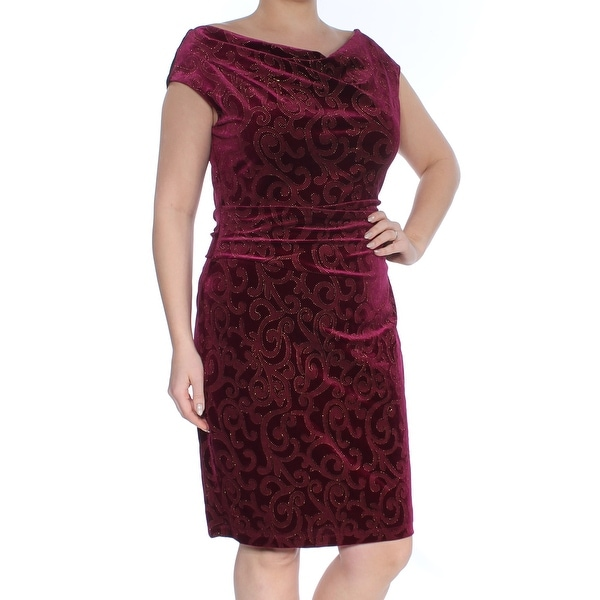 JESSICA HOWARD Womens Burgundy Embellished Printed Cap Sleeve Cowl Neck Knee Length Sheath Cocktail Dress Size: 14
