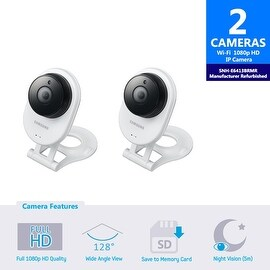 2 Pack SNH-E6413BMR - Samsung HD WiFi IP Camera with 16GB microSD Card (Refurbished)