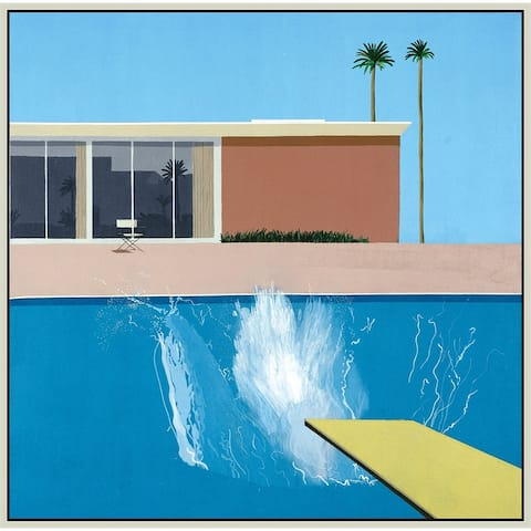 """Swimming Pool by David Hockney Giclee Print Oil Painting Silver Frame Size 16"""" x 16"""""""