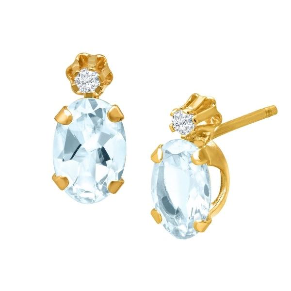 3/4 ct Aquamarine Diamond Stud Earrings in 10K Gold - Blue
