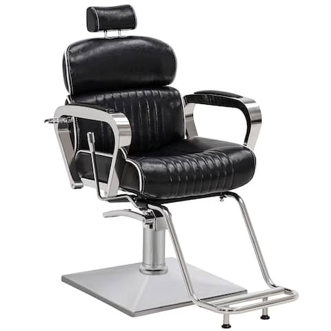 Barber Chair Metal Hydraulic Recline Beauty Spa Equipment 3078BK