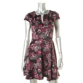Aqua Womens Juniors Floral Print Slash Neck Scuba Dress - M