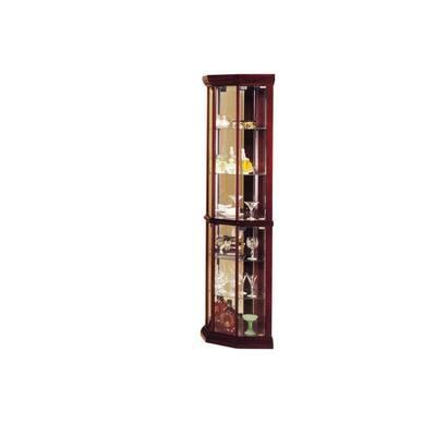 Q-Max Glass Doors Mirrored Back Glass Shelves Curio Cabinet (Corner)