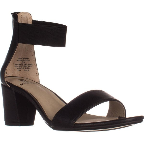 White Mountain Elinie Ankle Strap Dress Sandals, Black