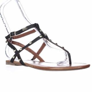 I35 Mirabai2 Flat Ankle Strap Studded Sandals - Black