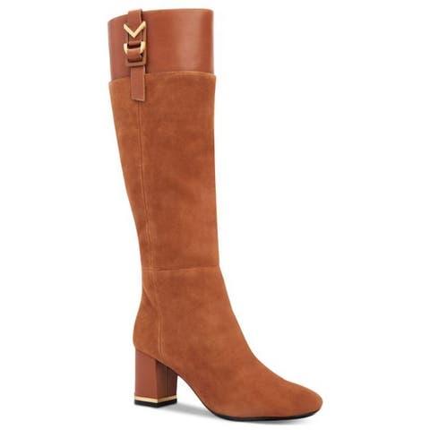 66e8667b134 Calvin Klein Womens Candace Leather Closed Toe Knee High Fashion Boots