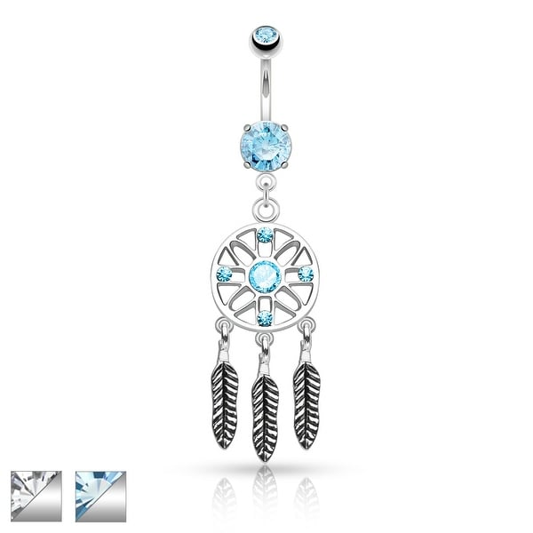 Three Feather Drops Dream Catcher Dangle Surgical Steel Belly Button Navel Ring - 14GA (Sold Ind.)