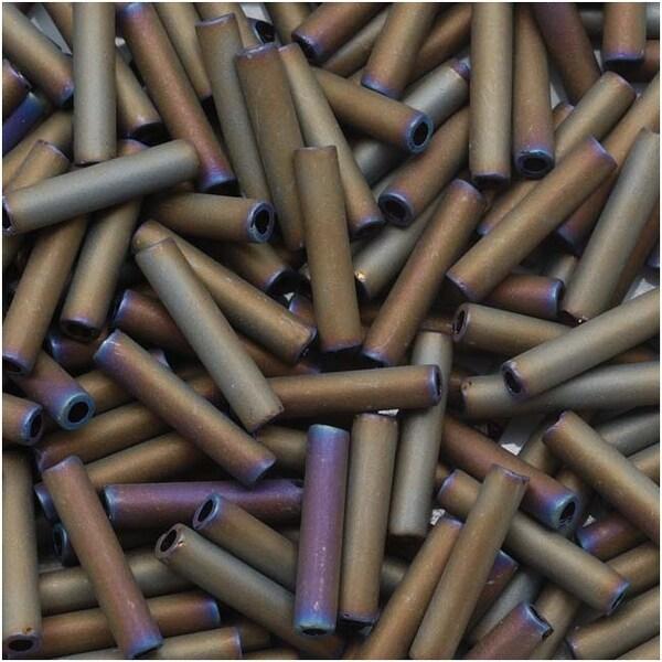 Toho Bugle Tube Beads Size 3 2x9mm Matte Iris Brown 10 Grams