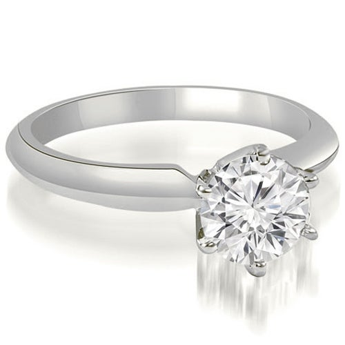 0.75 cttw. 14K White Gold Knife Edge Solitaire Round Diamond Engagement Ring