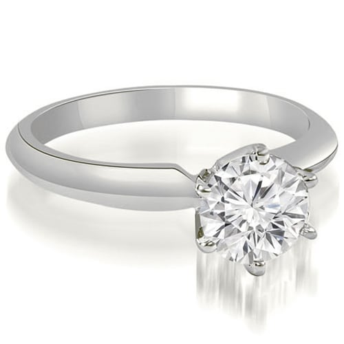 1.00 cttw. 14K White Gold Knife Edge Solitaire Round Diamond Engagement Ring