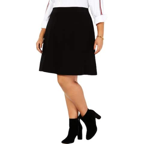 Tommy Hilfiger Womens Plus Flare Skirt A-Line Sweater - Black