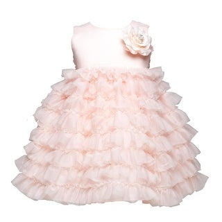 Crayon Kids Baby Girl Peach Tulle Layer Flower Girl Special Occasion Dress 6-24M