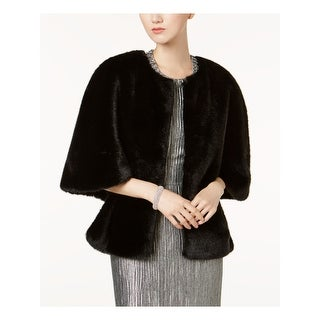 ADRIANNA PAPELL Womens Black Faux Fur Open Front Cape Jacket  Size M