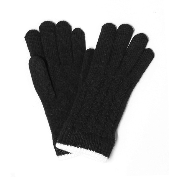 Womens Cable Trimmed Winter Gloves Lined