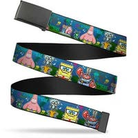 Blank Black  Buckle SpongeBob & Friends 8 Bit Scene Webbing Web Belt