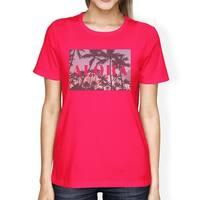 Aloha Palm Tree Photo Women Hot Pink Graphic Tee Lightweight Cotton