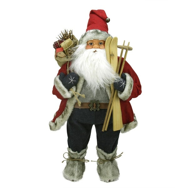 "24"" Sporty Skiing Standing Santa Claus Christmas Figure with Burlap Gift Bag - RED"