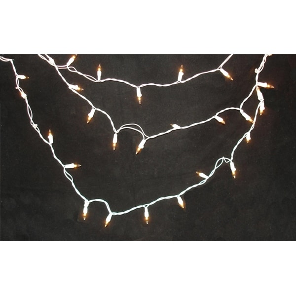Set of 150 Clear Swag Christmas Lights - White Wire