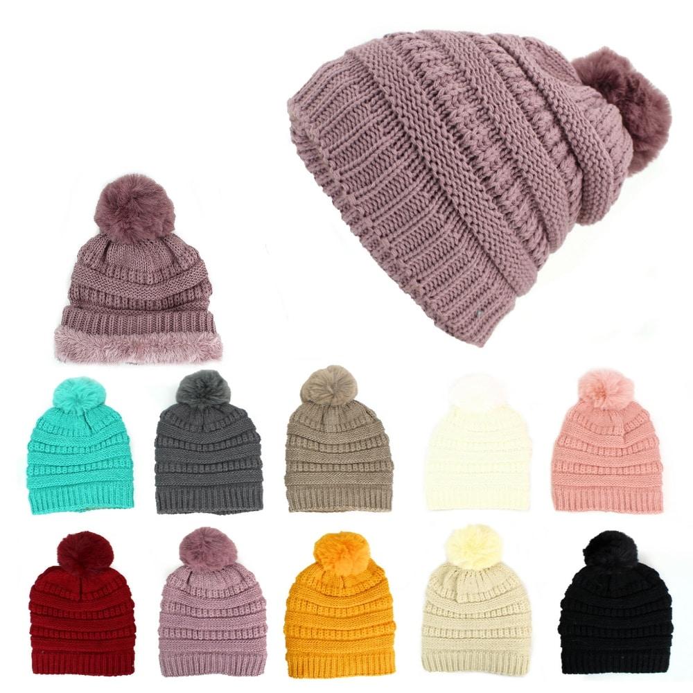 Hari Deals Boys Windproof Winter Chunky Knit Pom Pom Thinsulate Beanie Bobble Hat