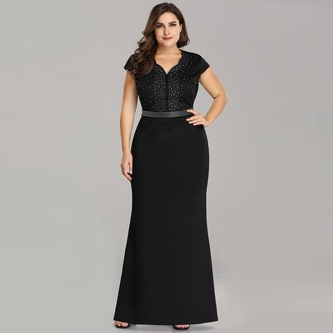 a00df5f7ad4 Ever-Pretty Womens Plus Size Cap Sleeve Beaded Black Evening Party Dress  07623