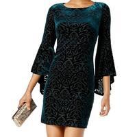 Jessica Howard Green Women's 14 Damask Velvet Bell-Sleeve Dress