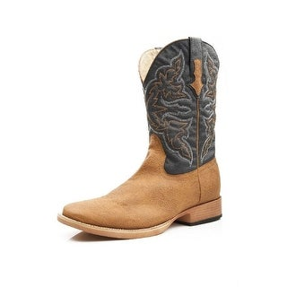 Roper Western Boots Mens Square Stitch Tan Navy