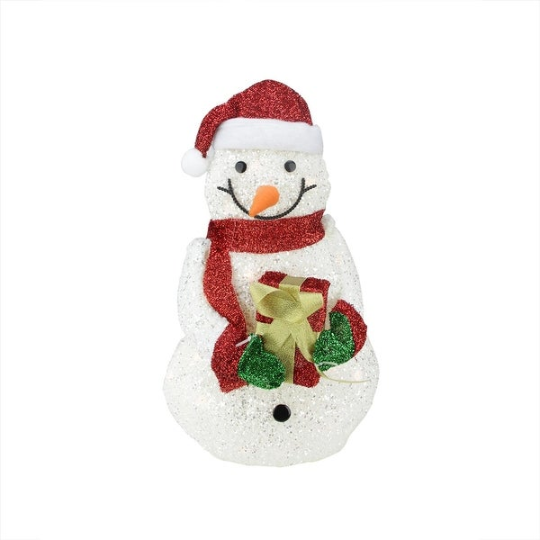 "23"" Lighted White Plush Glittered Snowman with Tinsel Gift Christmas Outdoor Decoration"
