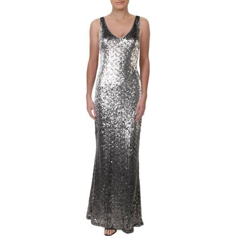 Lauren Ralph Lauren Lemony Women's Sequined Sleeveless V-Neck Column Gown - Silver Matte