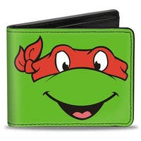Classic Tmnt Raphael Face Close Up Green Red Bi Fold Wallet - One Size Fits most