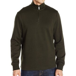 Perry Ellis NEW Dark Green Men Size Medium M 1/2 Zip Long Sleeve Sweater