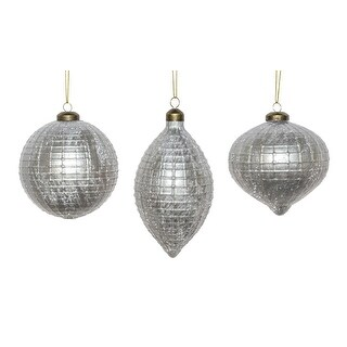 """Club Pack of 36 Silver Colored Decorative Hanging Glass Ball Ornaments 7.5"""""""