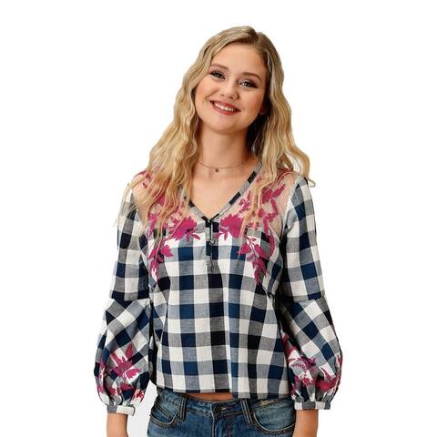 Roper Western Shirt Womens L/S Mesh Yokes Blue