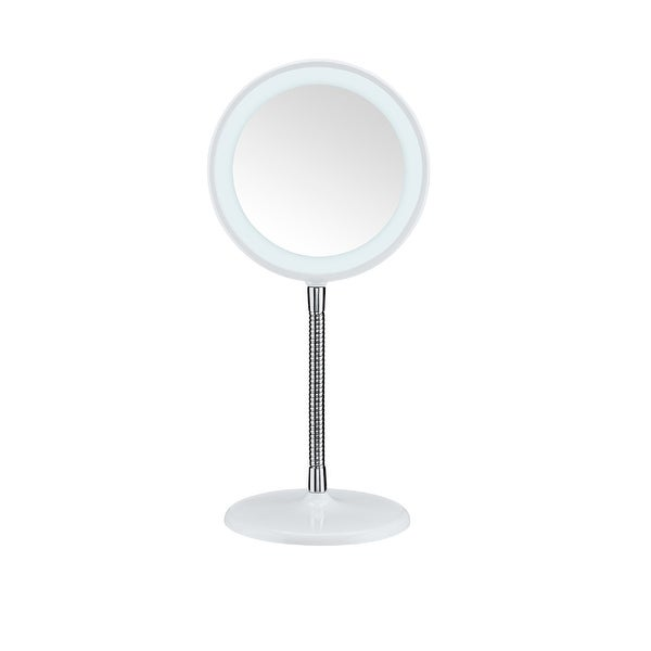 Conair Round Shaped Flex Led Single-Sided Lighted Makeup Mirror; 3X Magnification; White