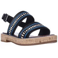 Sam Edelman Nala Flat Sling-Back Sandals, Zebra/Blue Zip Leather