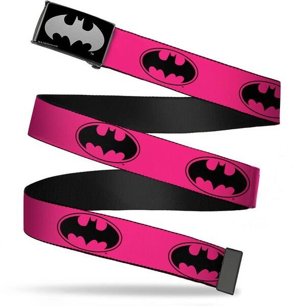 Batman Reverse Brushed Silver Cam Bat Signal 3 Fuchsia Black Fuchsia Web Belt