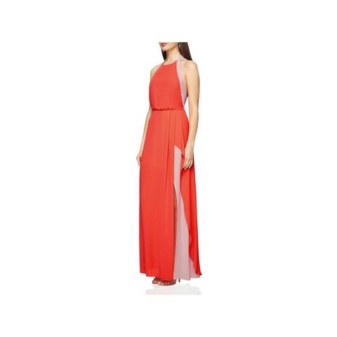 BCBG Max Azria Womens Camilla Evening Dress Halter Full-Length