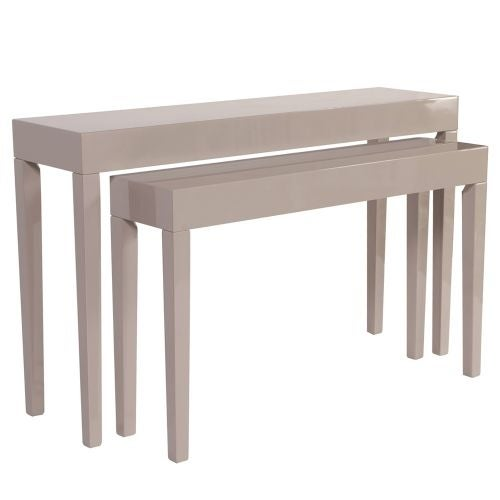 Howard Elliott Glossy Taupe Nesting Console Table Set Of 2 Wood Tables