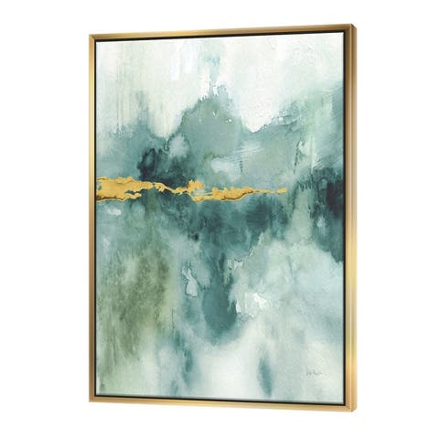 Designart 'Blue Watercolor Impression with Gold' Traditional Framed Canvas - Blue
