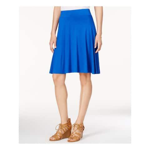 MAISON JULES Womens Blue Below The Knee Circle Skirt Size 2XS