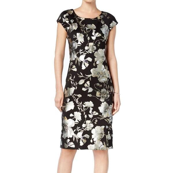 a58d4b6cd1166 ECI Black Gold Womens Size 12 Sheath Metallic Floral Print Dress