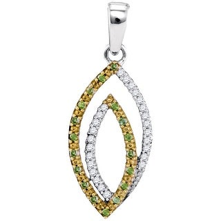 Twin Marquise Pendant Two Tone 10K Yellow-gold With Green and White Diamonds 0.16 Ctw By MidwestJewellery