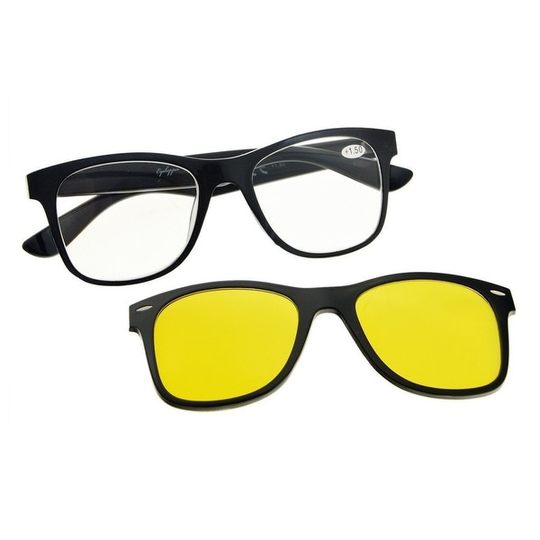 22c76aaaef4 Eyekepper Reading Glasses With Polarized Anti Blue Glear Lens Sun Clip ( Black Clear
