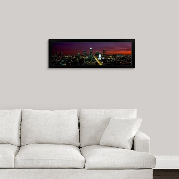 """""""City lit up at night Indianapolis Marion County Indiana"""" Black Framed Print"""