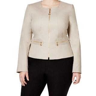 Calvin Klein NEW Beige Women's Size 24W Plus Full-Zipped Jacket